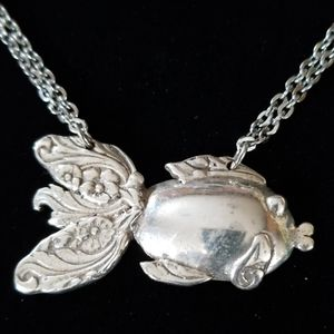 Repurposed Vintage Silverware Fish Necklace